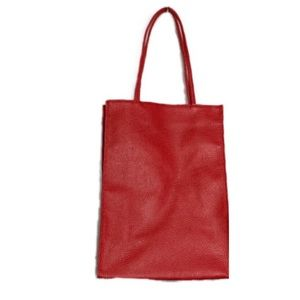 Lord & Taylor Red Textured Minimalist Tote Bag